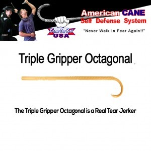ACSD Triple Gripper Octagonal Self Defense Cane