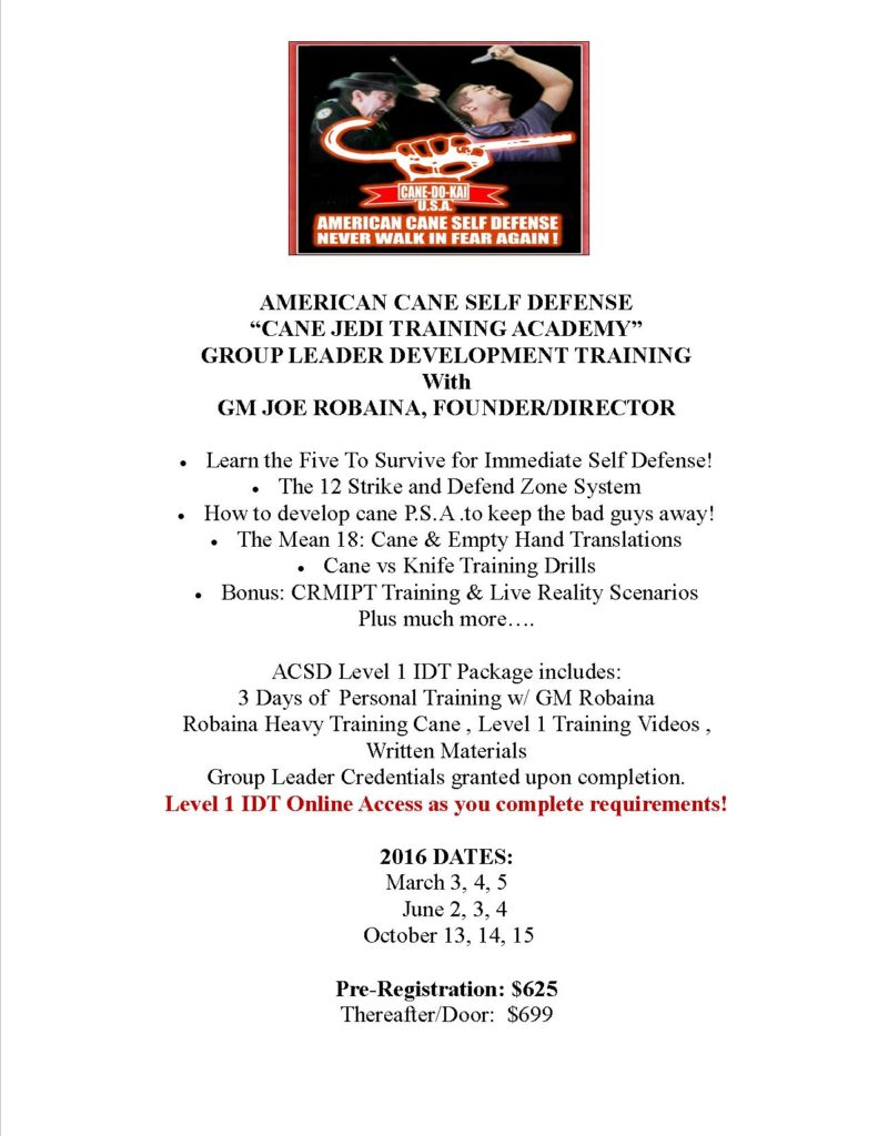 ACSD Lev.1 IDTCane Jedi Training 2016 Dates Flyer1